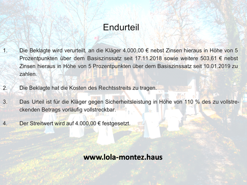 Endurteil des Amtsgericht München Lola Montez Haus verliert den Prozess und muss mindern