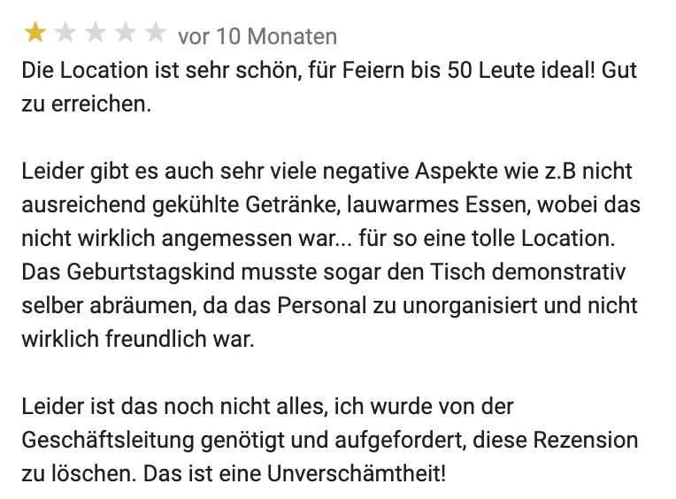 Unzufriedene Kundin des Lola Montez Haus http://www.lola-montez.haus aus Google Maps.