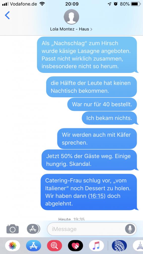Live-SMS während der Tauffeier im Lola-Montez-Haus, an den Wirt.